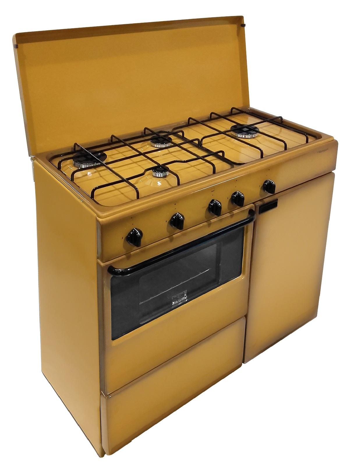 Cucina A Gas Con Portabombola Usata.Dettagli Su Cucina 85x45 Marrone Portabombola Forno Gas Bi961yal Farago